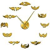 hufeng Reloj de Pared Alas de ángel con número Reloj de Pared 3D Alas de pájaro Guardería Decoración de la habitación del niño Pegatinas de Espejo de Pared sin Marco Minimalistas 37 Pulgadas