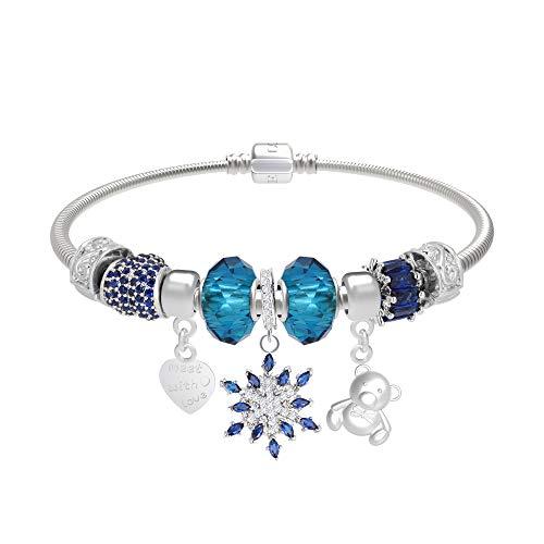 CT Jewelry Pulseras Brillantes Abalorios United Flor Hexagonal Corazon Oro Blanco 14K Moda Charms Mujer Regalos, Azul
