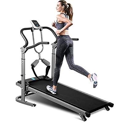 Mechanical Treadmill - WT734 Pro Folding Shock-Absorbing Manual Walking Treadmill for Home (Black)