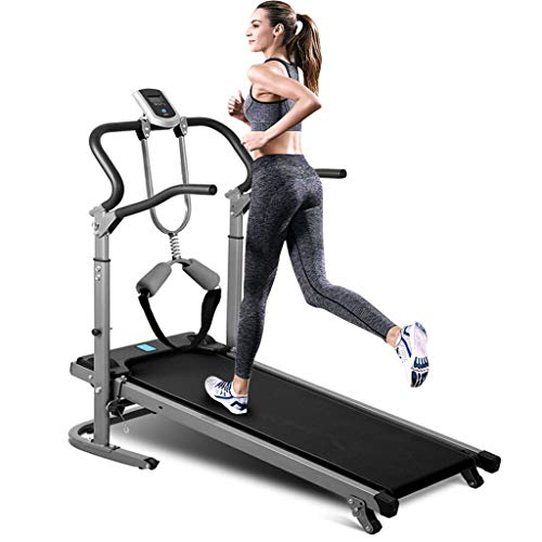 Mechanical Treadmill for Home Folding Shock-Absorbing No-Electric Manual Walking Treadmill, Treadmill with Auto Incline, LED Display, 330 LB Max Weight (Black)