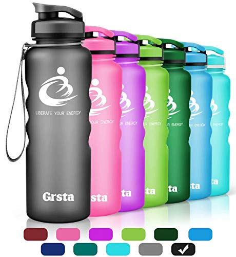 Grsta Sport Water Bottle 32oz(1000ml), Wide Mouth Leak Proof BPA Free Eco-Friendly Plastic Drink Best Water Bottles for Outdoor/Running/Camping/Gym w Flip Top Lid & Filter Open with 1-Click(Black)
