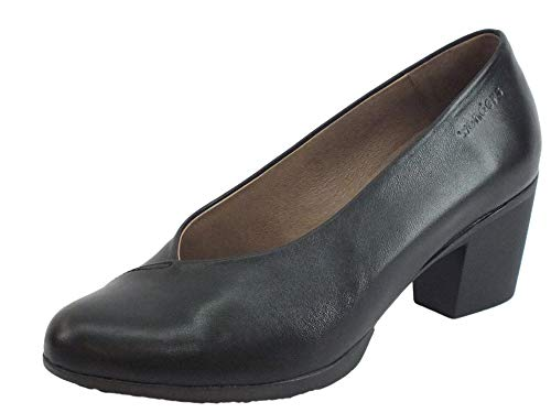 Wonders G-4741 Velvet Negro - Zapatos de tacón medio para mujer de piel negra