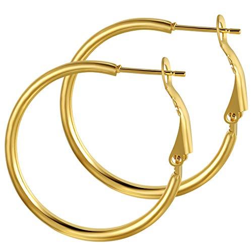 GoldChic Aro pequeños 30mm Pendientes de oro baño Acero inoxidable Aretes dorados para Niña Hoop earrings for women Gratis caja de regalo
