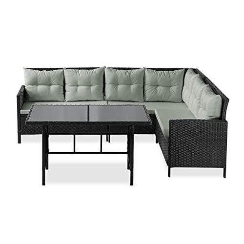 SVITA Poly Rattan Ecksofa Rattan-Lounge Esstisch Gartenmöbel-Set Sofa Garnitur Couch-Eck (Dining Set, Schwarz) - 2