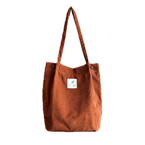 Etercycle Cord Umhängetasche Damen, Schultertasche Groß Cord Tasche Lässige Tote Handtasche Fashion Stofftasche für Alltag, Büro, Schulausflug und Einkauf - Braun