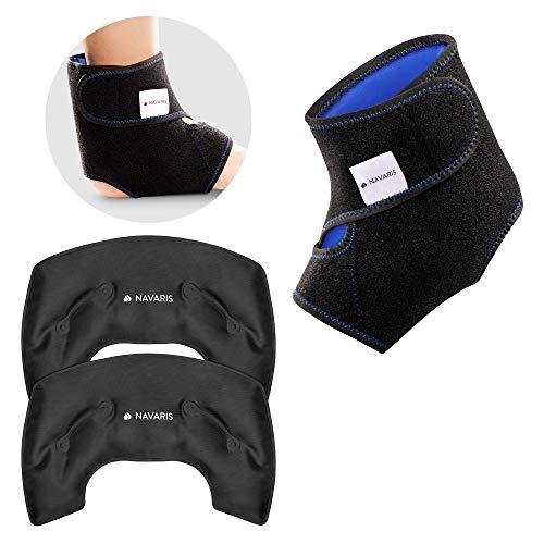 Navaris 2x Bolsa de gel para frío y calor - Compresas ajustables para tobillo tobillos - Banda para los pies - Aplicar temperatura caliente y fría