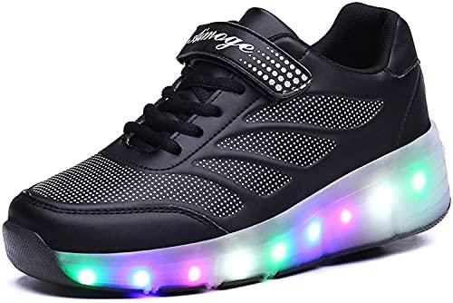 TRVELBETT Zapatillas de deporte brillantes de rueda para niños, zapatillas de skate con luz LED, zapatos para niños, niñas, carga USB (color: negro, tamaño: 34 UE)