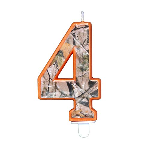 Havercamp Next Camo Party Birthday Number 4' Candle   1 Count   Great for Hunter Themed Party, Camouflage Motif, Birthday Event, Graduation Party, Father's Day Celebration, Wedding Anniversary