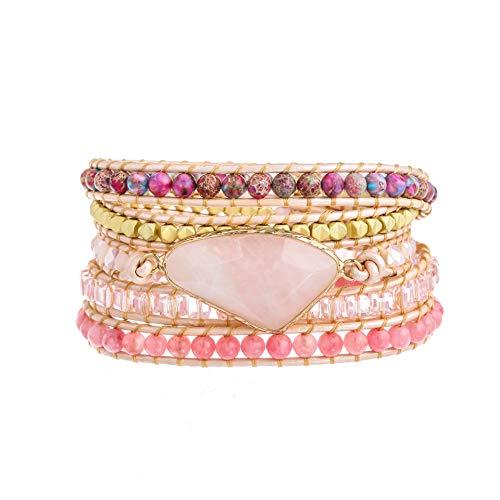 Plumiss Bohemia 5 Wraps Rose Quartz Bracelet Handmade Multilayer Beaded Jewellery For Women And Girls