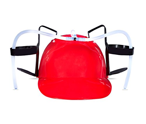 Beer and Soda Drinking Helmet Party Hat - Beer and Soda Guzzler Helmet, Fun Party Drinking Hat, Party Gags Cap Red