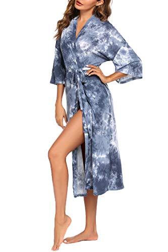 Ekouaer Robes for Women Kimono Robes Lightweight Long Night Bathrobes Tie Dye Blue,Medium