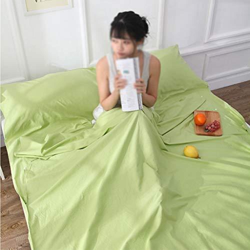 Travel Slaapzak Katoen Print Across Dirty Slaapzak Dirty katoenen voering blad met Carry Bag gemakkelijk schoon te maken for binnen of buiten (Color : Green, Size : 220 * 160cm)