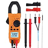 Digital Clamp Meter TRMS Auto Ranging 5999 Counts Multimeter with Alligator Clip Batteries