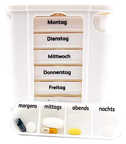 M&H-24 Tablettenbox Medikamentenbox Pillenbox für 7 Tage Weiß - Pillen-Tabletten-Dose Medikamentendispenser Medikamentendose Wochendosierer Woche 4-Fächer Morgens Mittags Abends Nachts