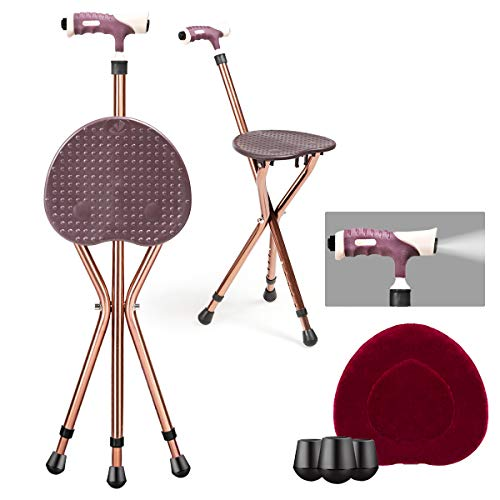Goplus Adjustable Folding Cane Seat, Aluminum Alloy Crutch Chair with LED Light and Retractable 3 Legs, Outdoor Travel Ads, Anti-Slip Lightweight Walking Stick for Seniors (Coffee)