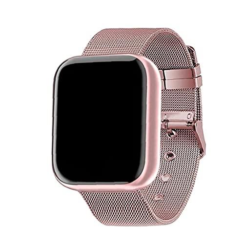 Runfon Reloj Elegante Y68 Fitness Sport SmartWatch y Tiras de Acero Control de Actividad con la presión Arterial del Ritmo cardíaco Hombres Mujeres Rosa