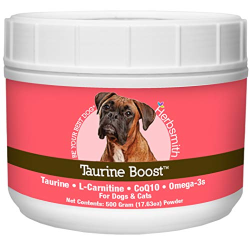 Herbsmith Taurine Boost - Cardiac and Heart Support for Dogs and Cats - Taurine Supplement for Dog and Cat Heart Health – with CoQ10, Taurine and L-Carnitine for Dogs - 500g