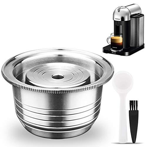 CAPMESSO Coffee Capsules, Upgraded Reusable Coffee Pod Compatible with Nespresso Refillable Vertuo Capsule Pod Vertuoline GCA1 and Delonghi ENV135 (8 oz-Upgraded Version)