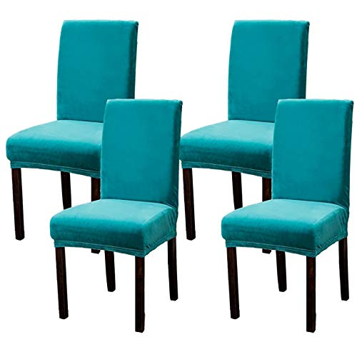 Argstar 2,4,6 Pack Dining Chair Covers Velvet, Velvet Dining Chair Slipcover, Parson Chair Cover Velvet, Armless Chair Cover for Dining Room, Kitchen Chair Cover Set of 4, Teal