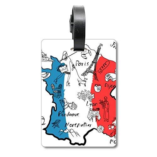 Etiqueta de identificación de Mapa de la Ciudad de Francia con Bandera Nacional para Maleta de Crucero