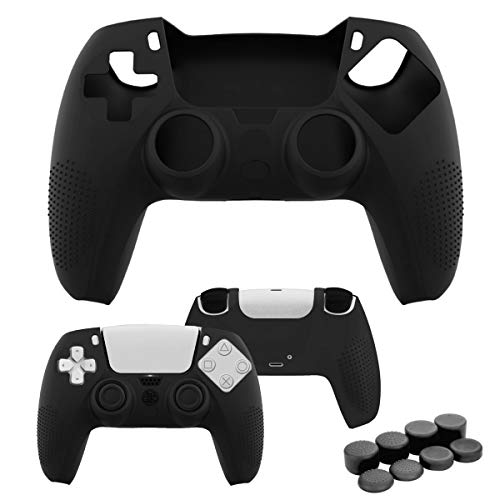 Case for PS5 Controller Skin, Silicone Cover Skin Case with 8 Thumb Grip Caps, Anti-Slip Anti-Scratch Protective Cover Shell Fit Playstation 5 DualSense Controller