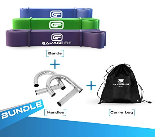 Garage Fit Pull Up Assist Band with Metal Handle and Carry Bag, Stretch Resistance Mobility Band - Powerlifting Bands - Extra Durable, Cross Training Exercise (Bundle4-#3 Purple, 4 Green, 5 Blue)