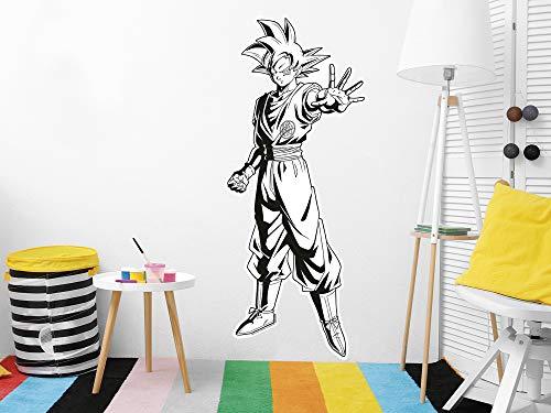 Vinilo de Pared Tamaño Real Dragon Ball Super Goku Blanco y Negro Producto Oficial   54x130 cm  Vinilo para Paredes   Producto Original   Vinilo Adhesivo   Mural   Decoración Hogar   DBS