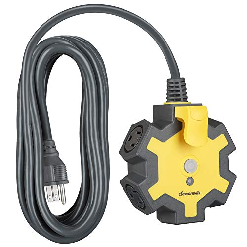 DEWENWILS Industrial Power Strip with 5-Outlet Power Hub, 15FT Heavy Duty Extension Cord for Garage,...