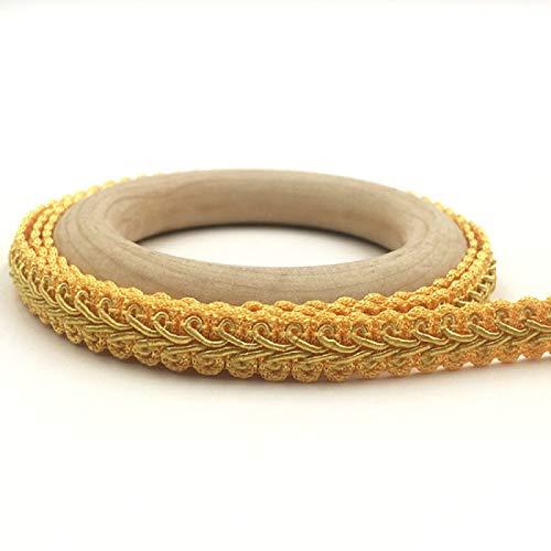 Yalulu 25 Meter Geflochten Zierband Borte aus Dekoband Zierband Geschenkband Spitzenborte Schnur Kordelband Nähen Handwerk Hochzeit Deko (Gold)