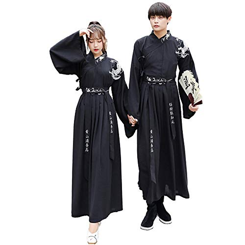 YCWY Vintage traditionelles chinesisches Kostüm, chinesischer Drache gesticktes langes Hülsen-Hanfu für Paar-Fotoaufnahme-Kleidungs-Festival-Tanz-Kostüme 3 Klagen,S