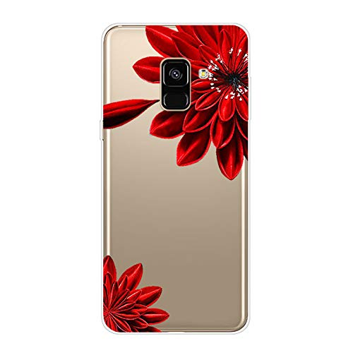 Kompatibel mit Galaxy A8 Plus 2018 Hülle TPU Silikon Bunt Schutzhülle,[Transparen Karikatur Silikonhülle] Hülle Gemalt,Ultra Slim Durchsichtig mit Muster Bumper Stoßfest Hülle,Rote Pfingstrose