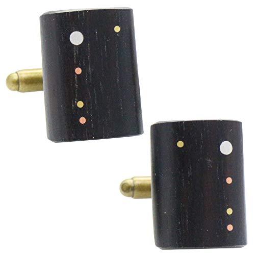 セイロン エボニー 黒檀 オリジナル 手作り木工 カフス カフスボタン カフリンクス 118