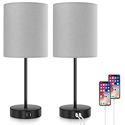 2-Pack Touch Control 3-Way Dimmable Grey Bedside Table Lamp, 2 USB Charging Ports Nightstand Lamp with 2700K Warm White Bulbs, Round Fabric Shade Modern Desk Reading Lamp for Bedroom Living Room