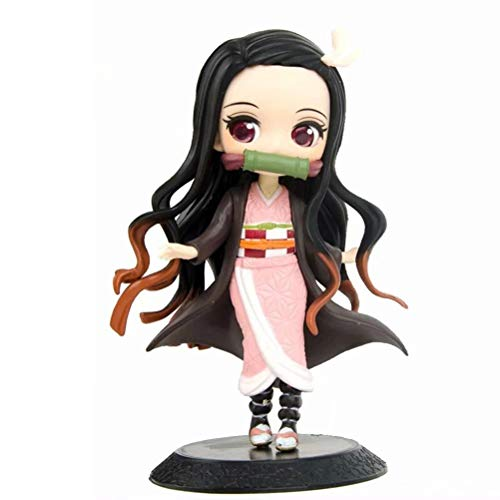 tiantang Demon Slayer Kamado Nezuko Q Version Doll Interchangeable Face PVC Anime Cartoon Game Character Model Statue Figure Toy Collectibles Decorations Gifts Favorite