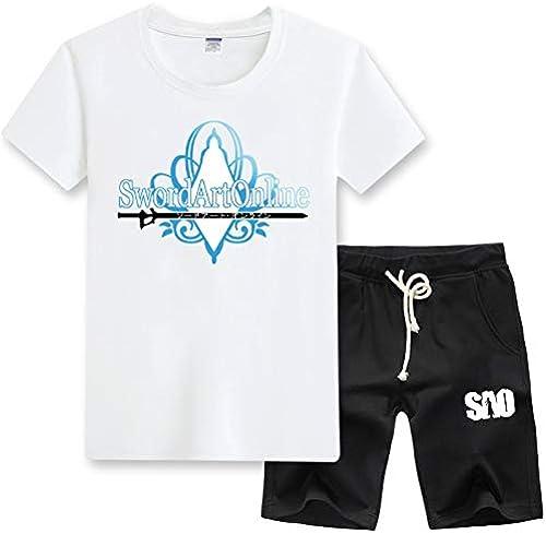 GHMM T-Shirt male été Jeunesse décontractée Set épée Shenniao Anime SAO Tongren Manches Longues Grande Taille Set (Couleur   blanc B, Taille   XXXL)