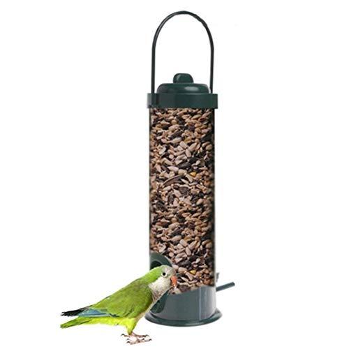 LJYY Alimentador de pájaros Alimentación al Aire Libre Portátil Aves Silvestres Suministros de plástico Productos Parque Jardín Contenedor de árboles (Color: Verde)