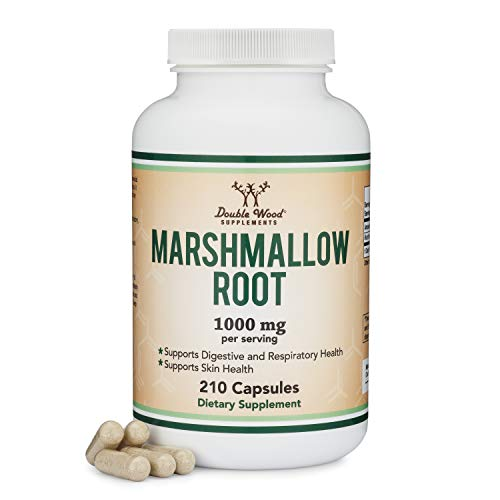 Marshmallow Root Capsules (210 Count, 1,000mg per Serving) High in Mucilage to Support Respiratory, Skin and Gut Repair (Vegan Safe, Non-GMO, Gluten Free, Made in The USA) by Double Wood Supplements