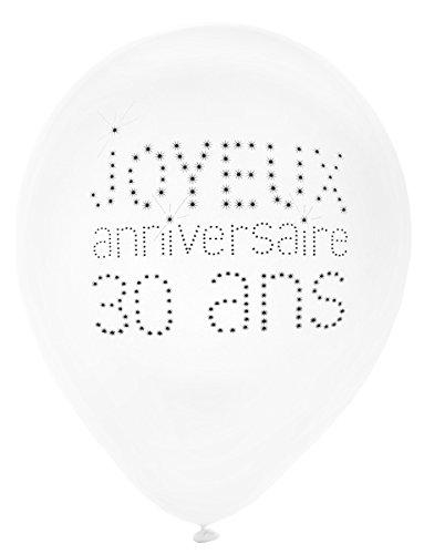 Generique - 8 Ballons en Latex 30 Ans Anniversaire Chic 23 cm