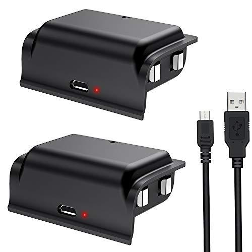 BEBONCOOL Lot de 2 Batteries Rechargeables pour Manette Xbox One 1200 mAh avec câble de Chargement Micro USB, kit de Charge et de Jeu pour manettes Xbox One/One S/One X/One Elite