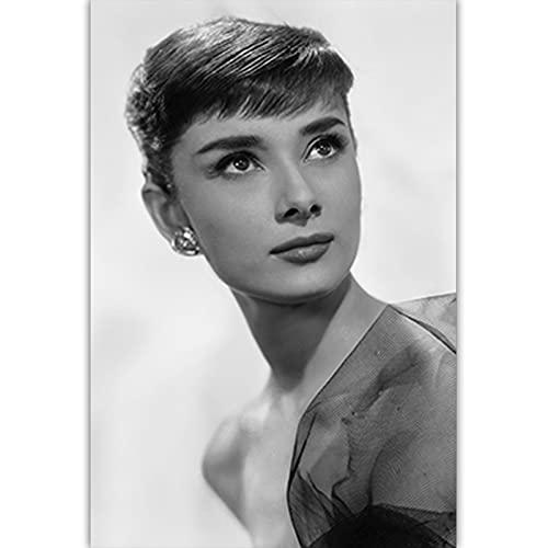 Czarno-biała sztuka fotograficzna Audrey Hepburn obraz na płótnie Nordic plakaty drukuj Salon Home Decor C15 50 × 70 CM bez ramki