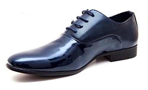 Evoga scarpe uomo class blu scuro vernice linea classica eleganti cerimonia (43)