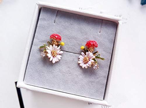 FEARRIN Pendientes de botón Pendientes de joyería Bijouterie Pendientes de pétalos Simples Flores de Metal contratadas Pendientes de botón de Temperamento de Dama 3