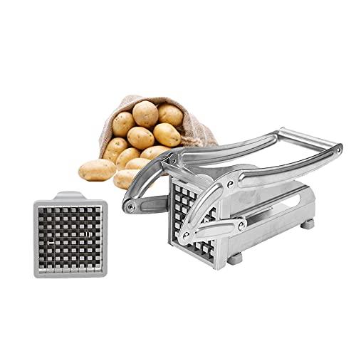 Coupe-Frites Machine à Couper les Frites Acier Inoxydable Coupe Frites Manuel Machine de Coupe de Pommes de Terre avec 2 Lames