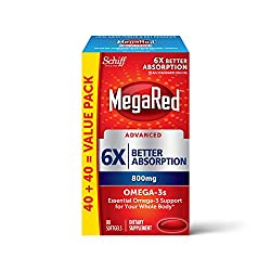 800mg Omega-3 Fish Oil Supplement, MegaRed Advanced 6X Absorption Softgels (80 Count in a Box), Pack