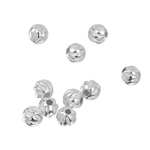 B Baosity 10pcs 925 Silver Water Ripper Loose Spacer Beads Charms Bracelet Women Diy Gifts - Silver, 4mm