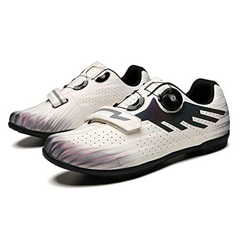 Sebasty Zapatillas de Ciclismo Transpirables Sin Bloqueo,Zapatillas de Bicicleta de Montaña,Zapatillas de Bicicleta MTB para Hombres,Mujeres,Zapatillas de Bicicleta de Carretera,White-37