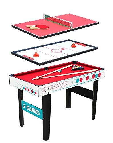 Kangui Table Multi Jeux 3 en 1 - Billard - Ping Pong - Hockey Structure Bois - Accessoires Inclus
