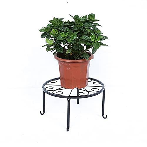 Fablcrew - Soporte para maceta de hierro forjado para plantas de metal negro redondo 4 patas taburetes decoración interior exterior para balcón jardín casa