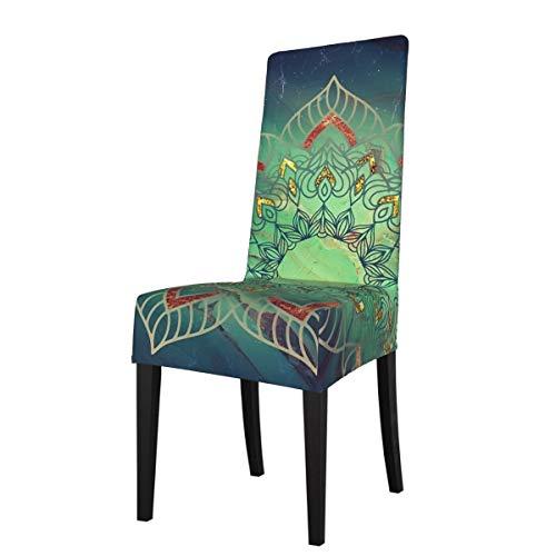 LESIF Fundas elásticas para silla de comedor, color verde azulado y oro rosa, funda protectora para silla de comedor, extraíble y lavable, suave, para cocina, hogar, restaurante