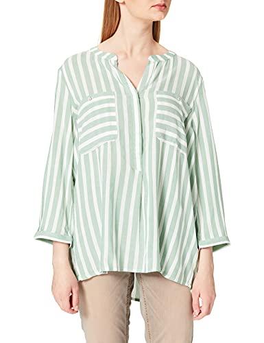 TOM TAILOR Dames Stripe Blouse, 26020 - Groen Offwhite Vertical Streep, 42 NL